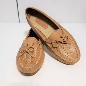 Hush Puppies Tan Leather Slip-On Moccasin Flats